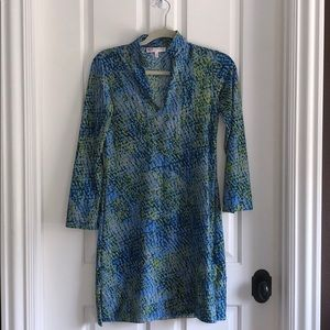 Jude Connally XS Blue and Green Snakeskin Dress